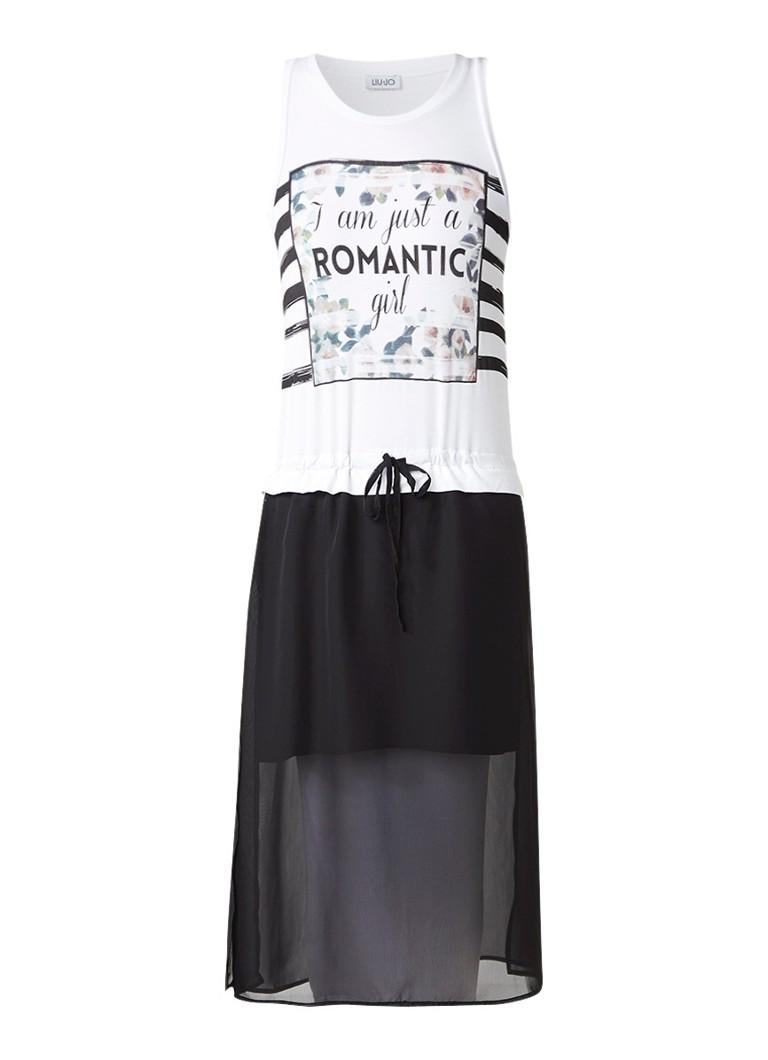 Liu Jo Abito muowloze jurk met print en semi-transparante rok wit