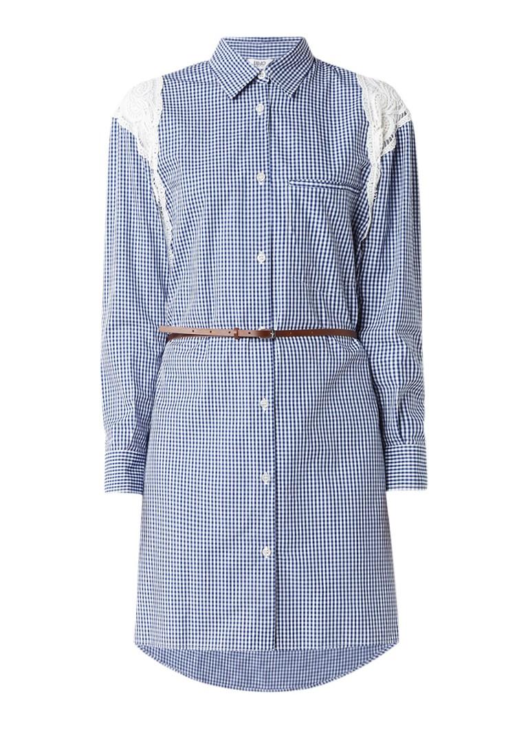 Liu Jo Ideal blousejurk met kanten details en ruitdessin blauw