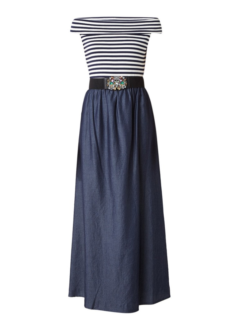 Liu Jo Ice off shoulder maxi-jurk met tailleceintuur indigo
