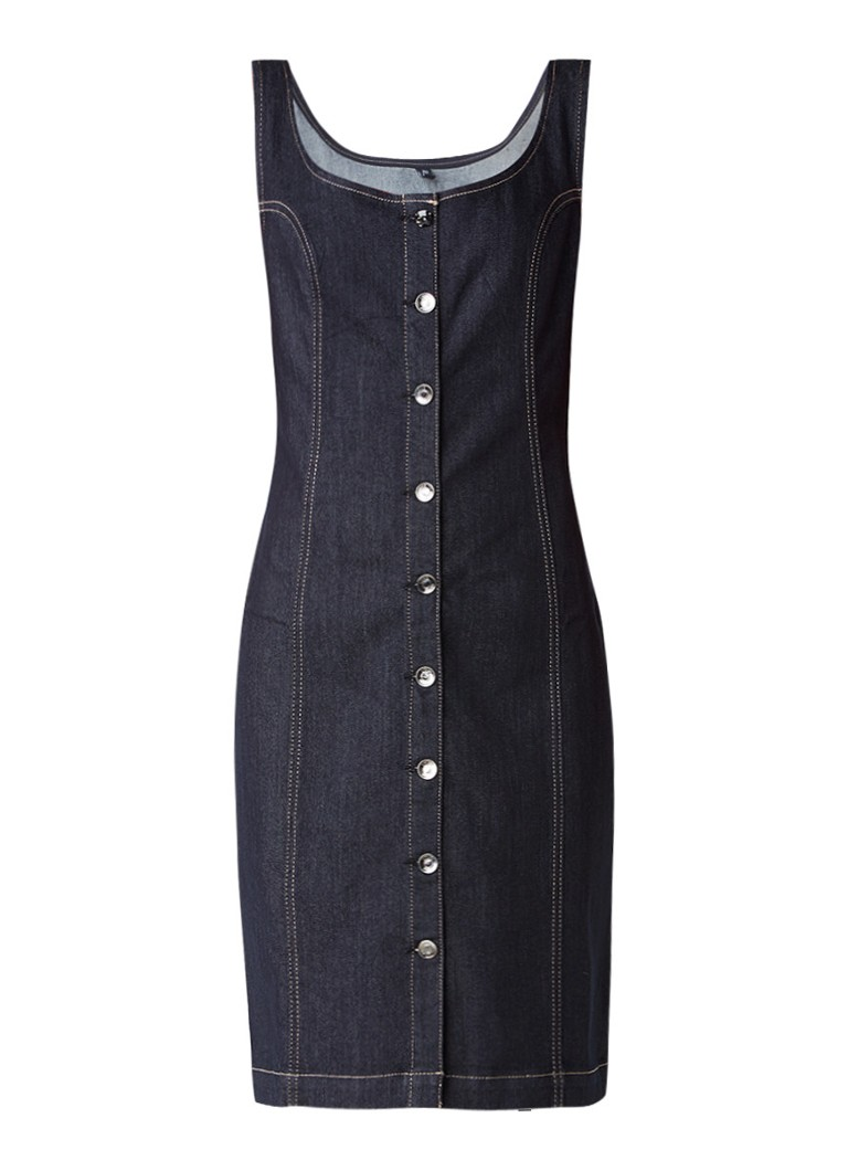 Liu Jo Divine spijkerjurk met glanzende knoopsluiting indigo
