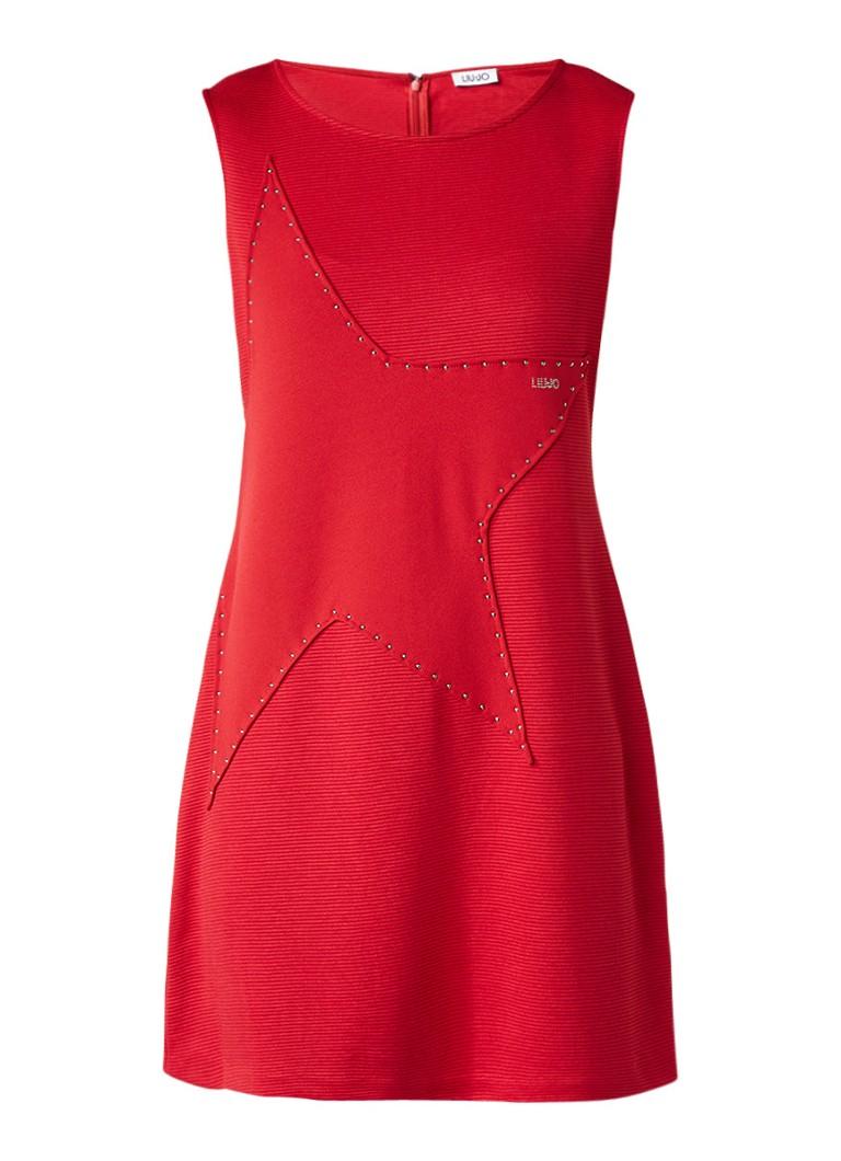 Liu Jo Ribgebreide jurk met ster en studs rood