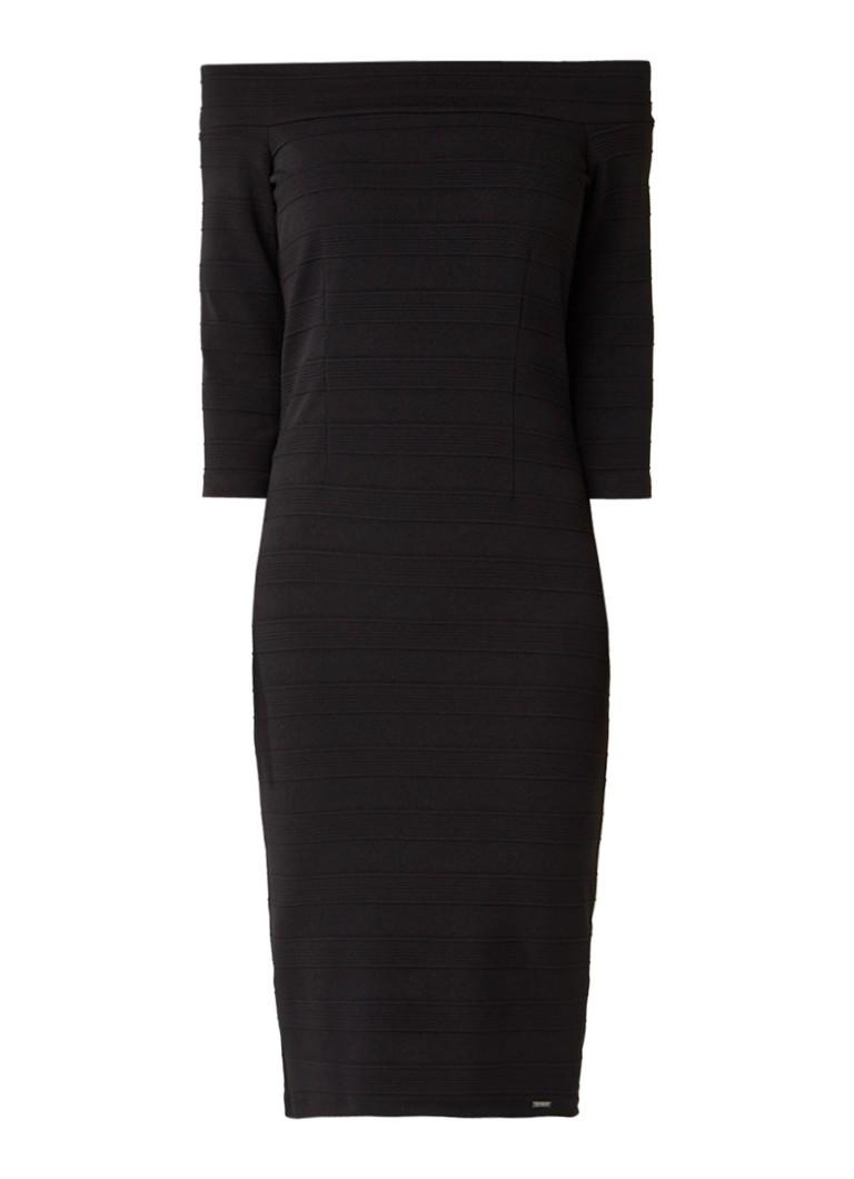 Liu Jo Off shoulder jurk met ribstructuur zwart