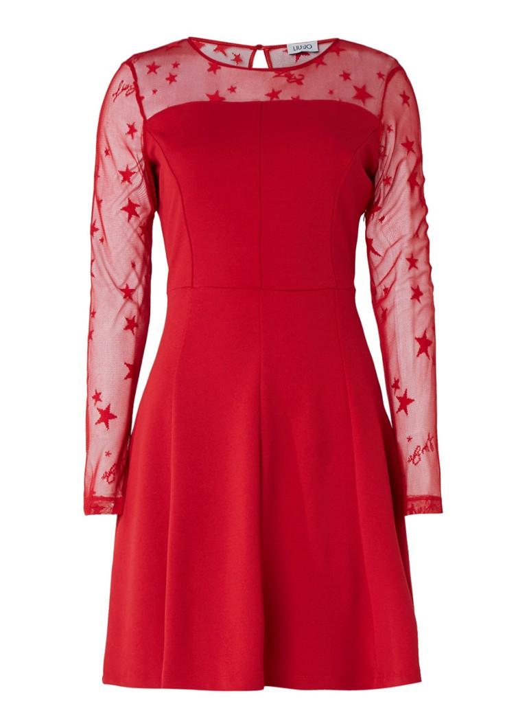 Liu Jo A-lijn jurk met mesh en sterren rood