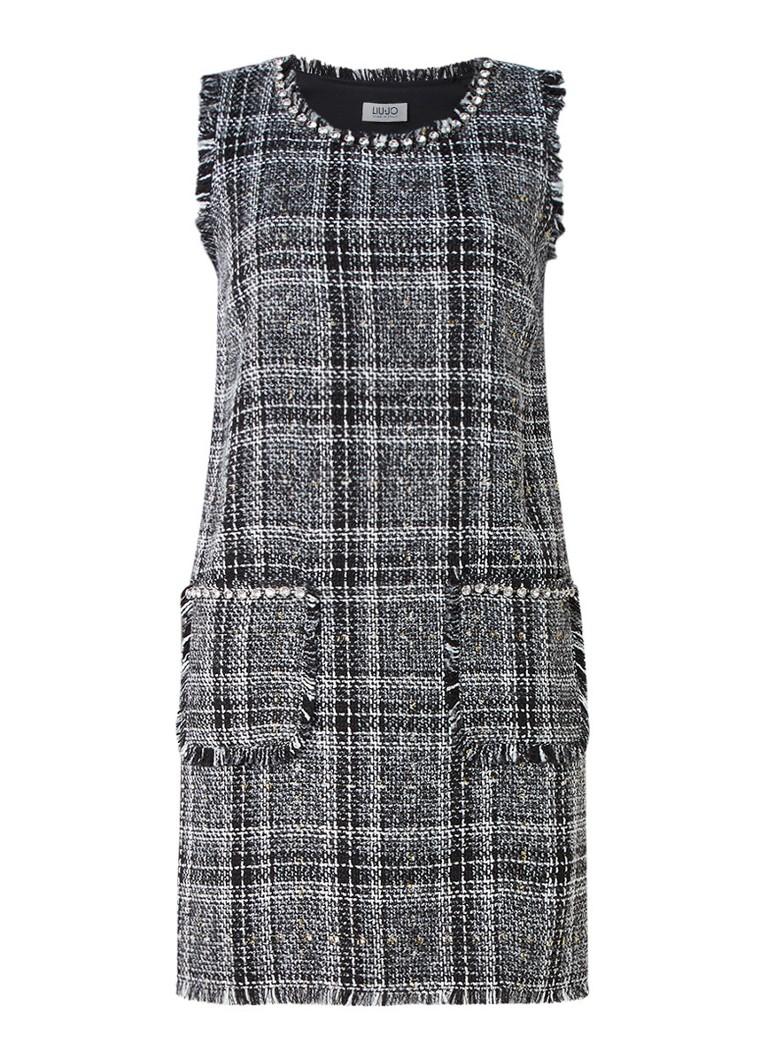 Liu Jo Mouwloze jurk van tweed met strass antraciet