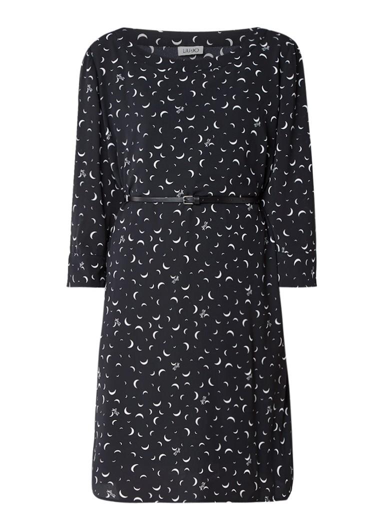 Liu Jo Midi jurk met maanprint en ceintuur zwart
