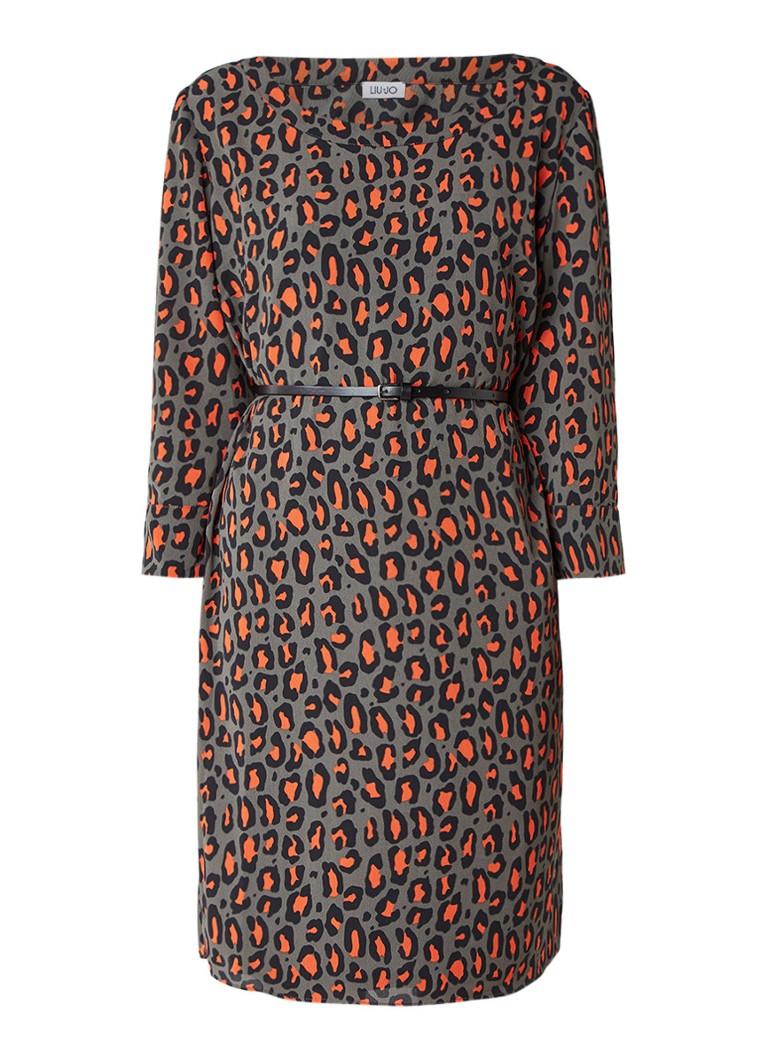 Liu Jo Midi-jurk met luipaardprint en ceintuur antraciet