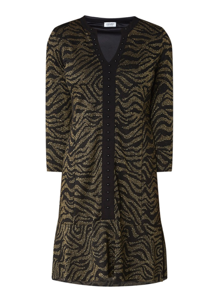 Liu Jo Midi-jurk met zebradessin en lurex goud