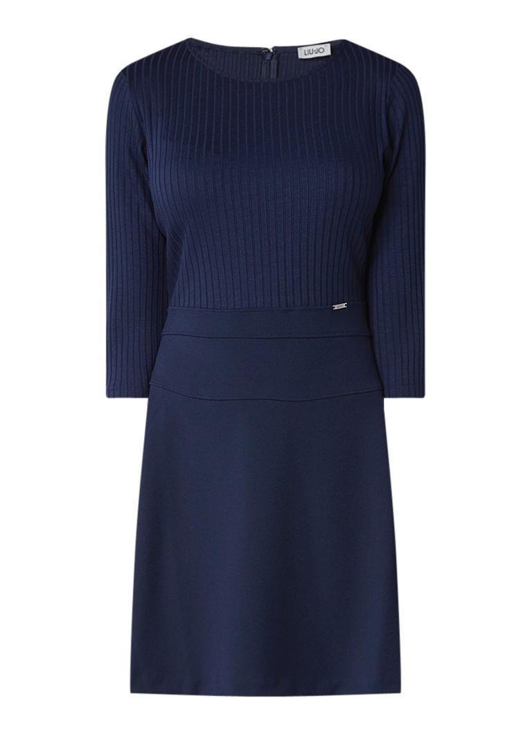Liu Jo A-lijn jurk met driekwartsmouw royalblauw