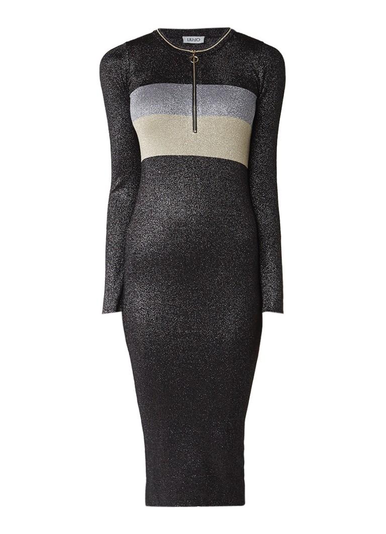 Liu Jo Fijngebreide maxi-jurk met halve rits en lurex zwart