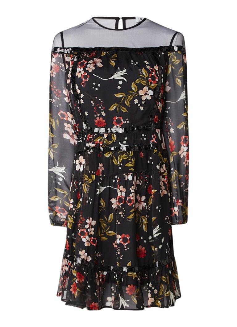 Liu Jo Petit Fleurs A-lijn jurk van zijde met pailletten en mesh zwart