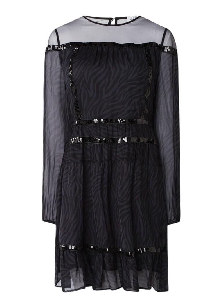 Liu Jo A-lijn jurk van zijde met mesh en zebra dessin zwart