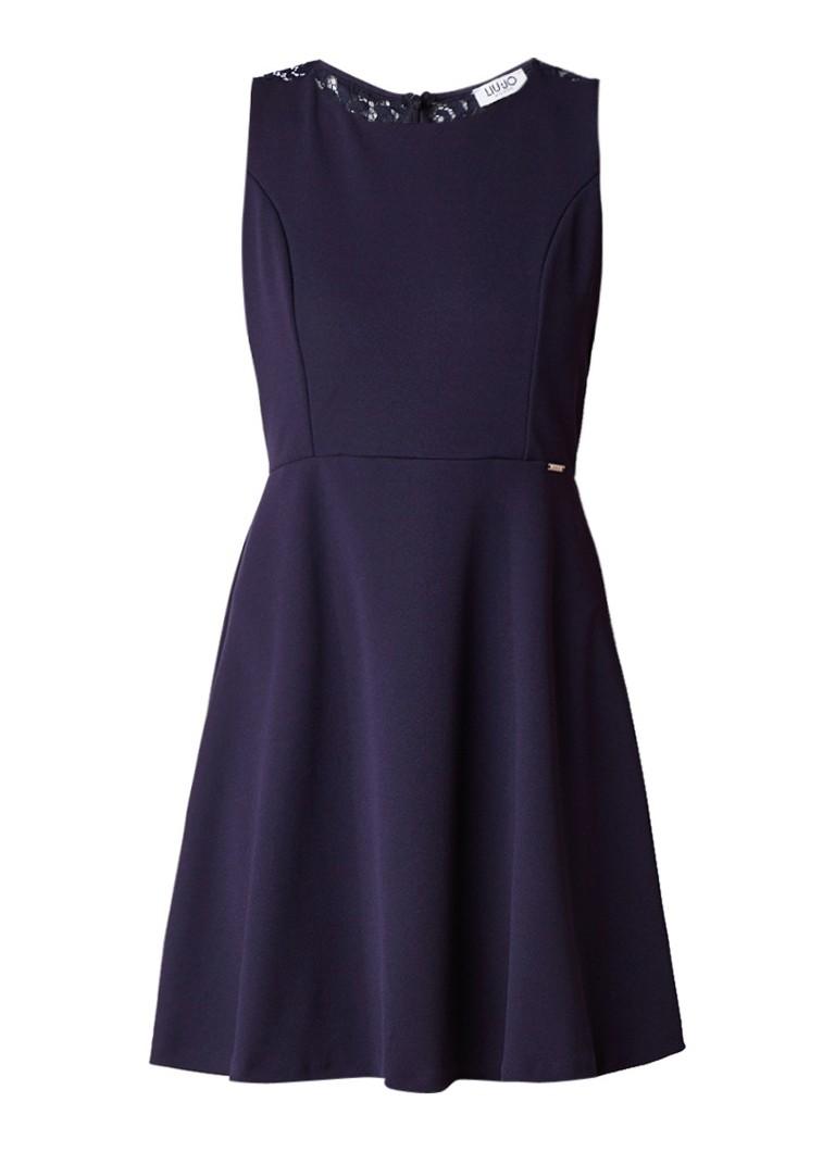 Liu Jo A-lijn jurk met rug van kant donkerblauw