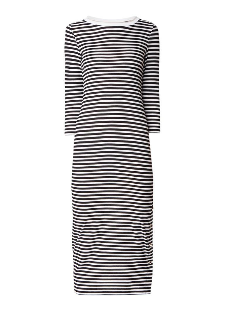 Liu Jo Cult ribgebreide jurk van jersey met streepdessin zwart