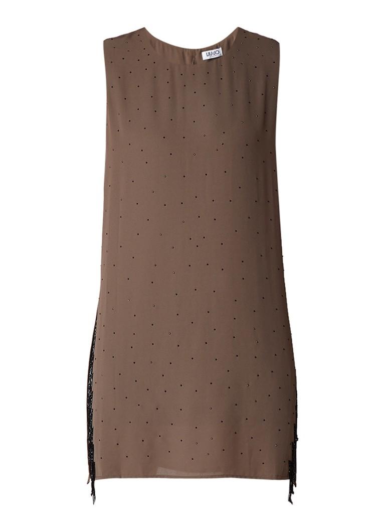 Liu Jo Mini-jurk met strass en splits legergroen