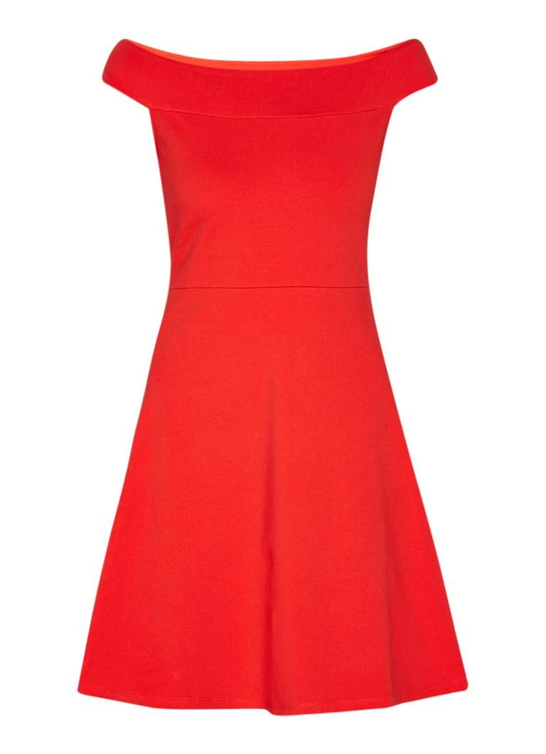 Liu Jo Jersey Blues off shoulder jurk met A-lijn rood