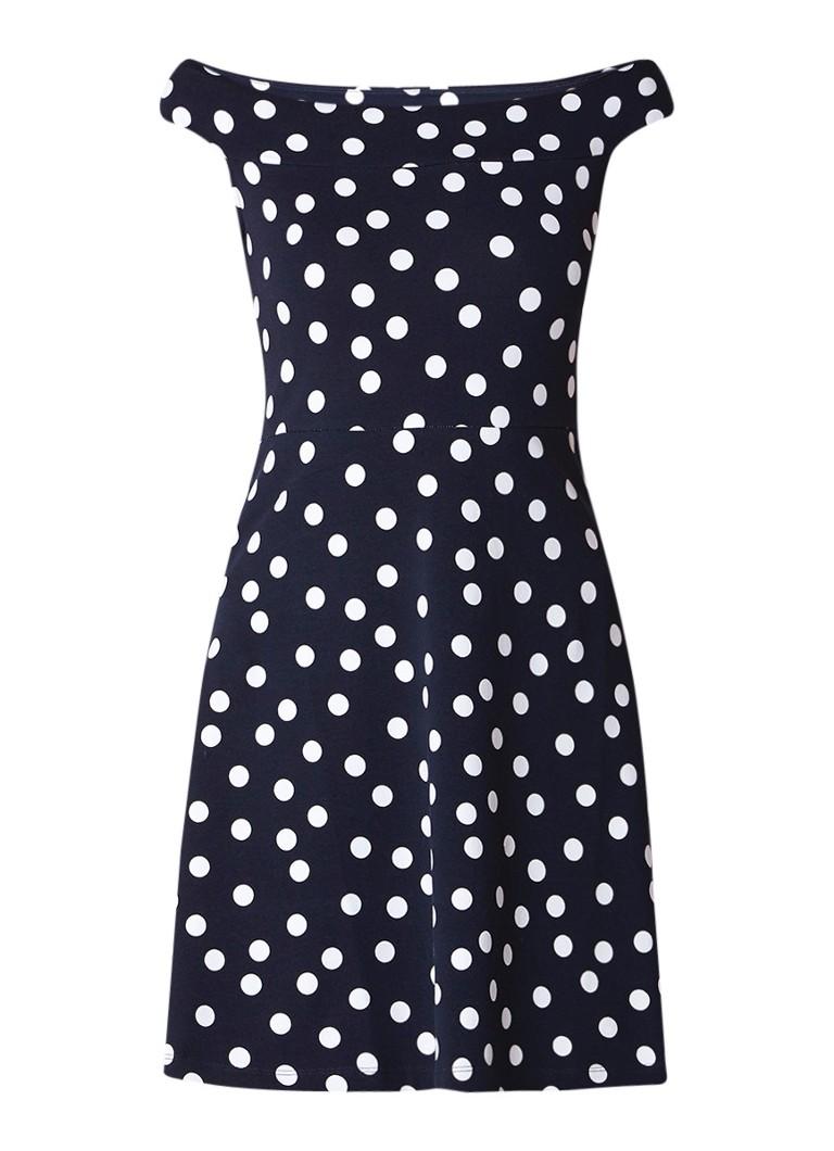 Liu Jo Jersey Blues A-lijn off shoulder jurk met polkadots donkerblauw