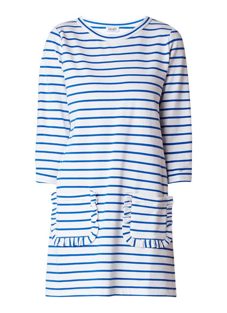Liu Jo Loose fit jurk met streepdessin en steekzakken lichtblauw