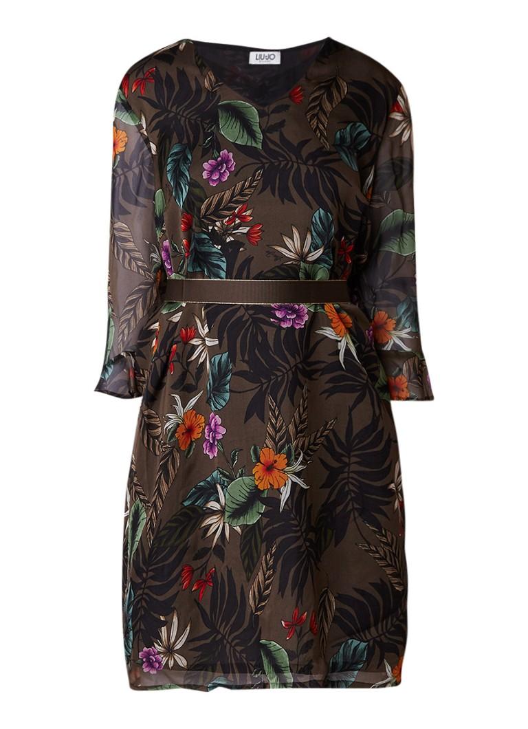 Liu Jo Savane Brazil tuniekjurk van zijde met bloemendessin bronsgroen