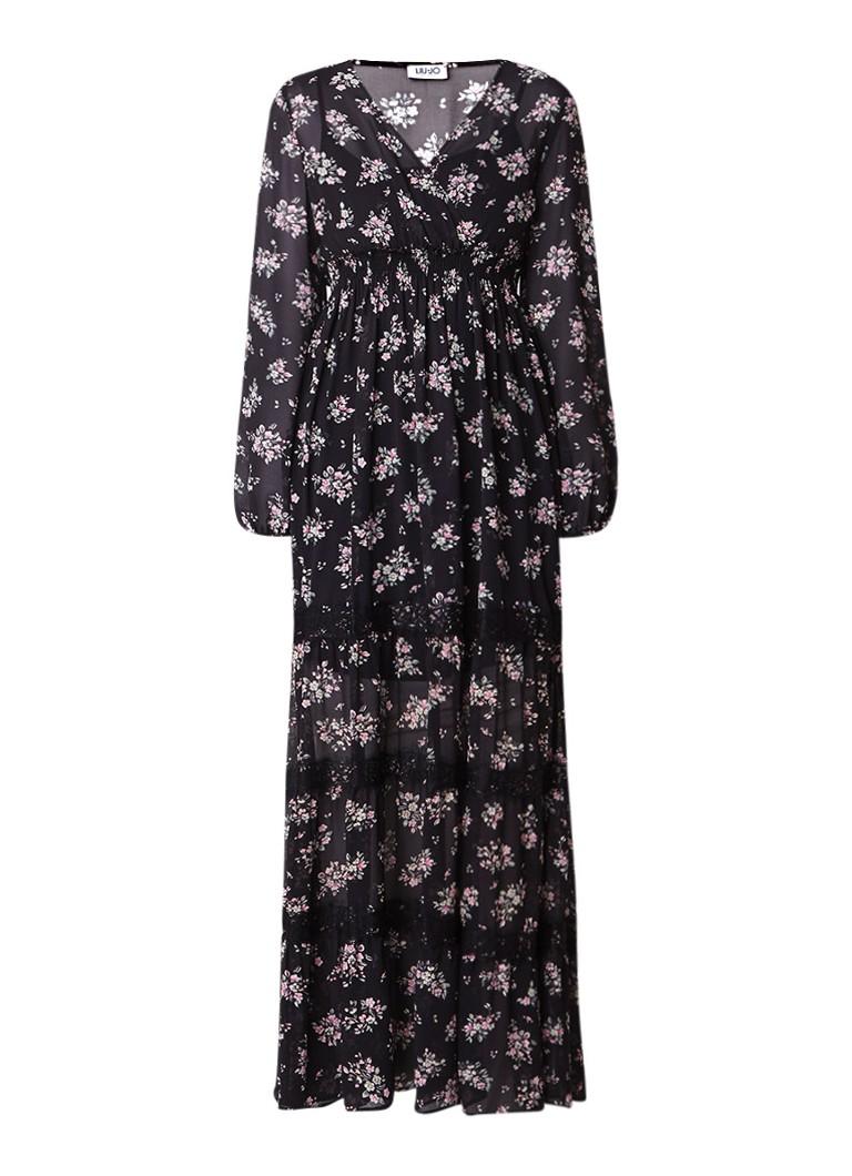 Liu Jo Maxi-jurk met gesmockte tailleband en bloemendessin zwart