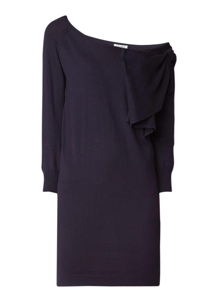Liu Jo Bow fijngebreide one shoulder jurk met strikdetail donkerblauw
