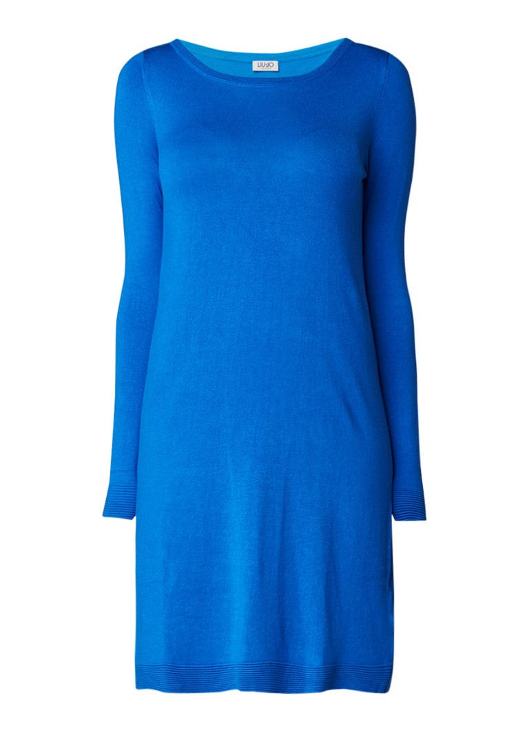 Liu Jo Fijngebreide jersey jurk met lange mouwen blauw