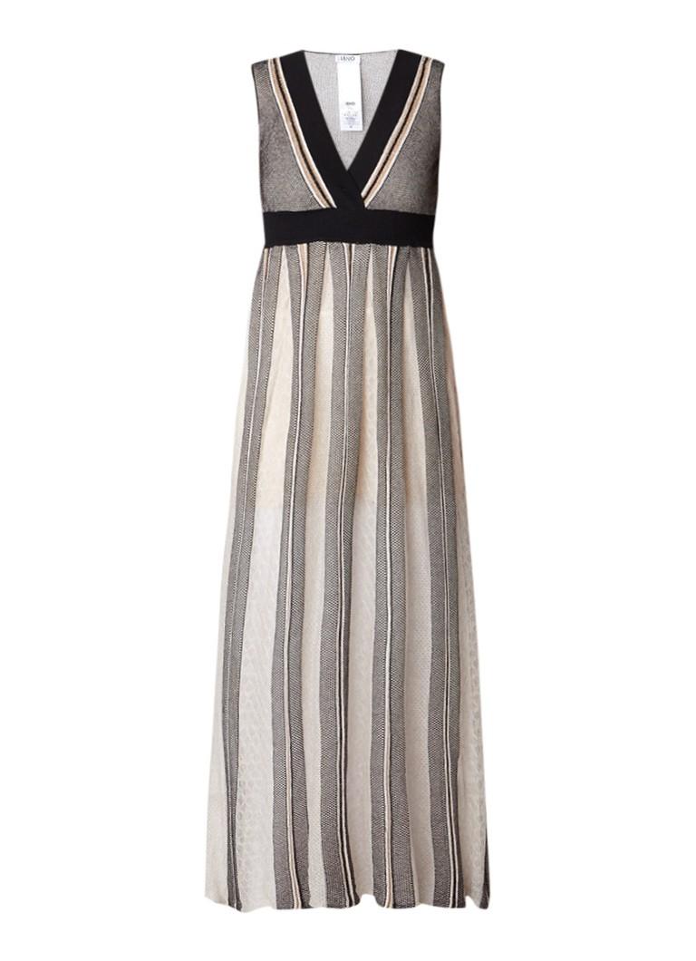Liu Jo Fijngebreide maxi-jurk met streepdessin en lurex beige