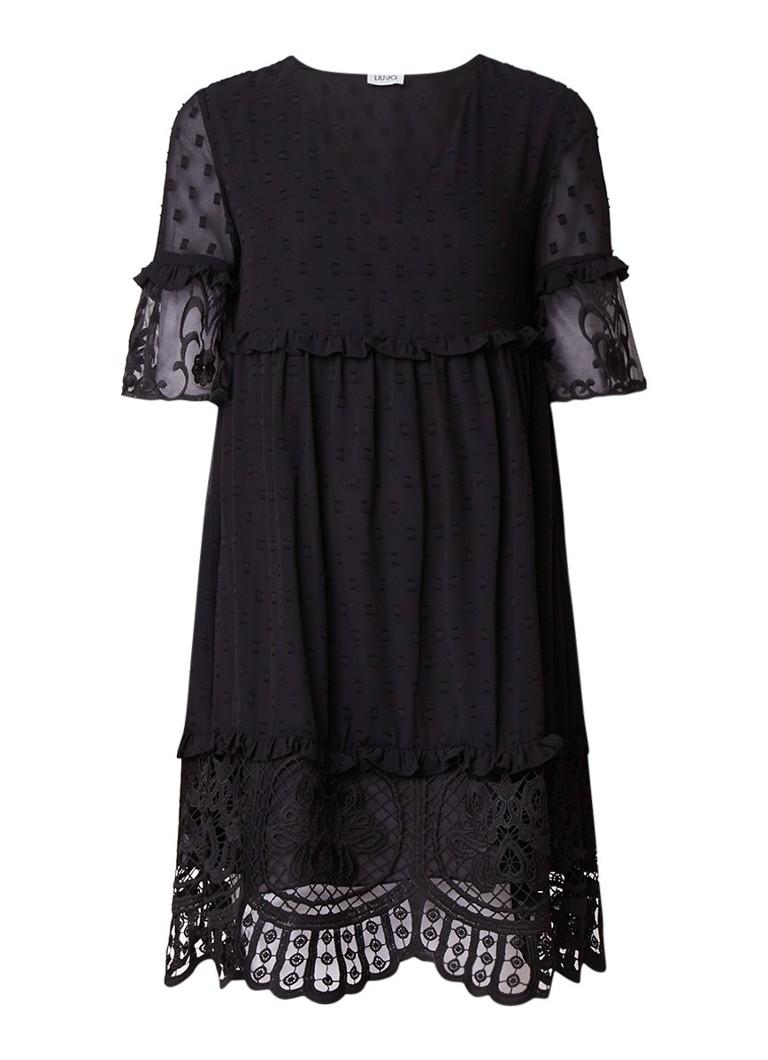 Liu Jo A-lijn jurk met volant en afwerking van kant zwart