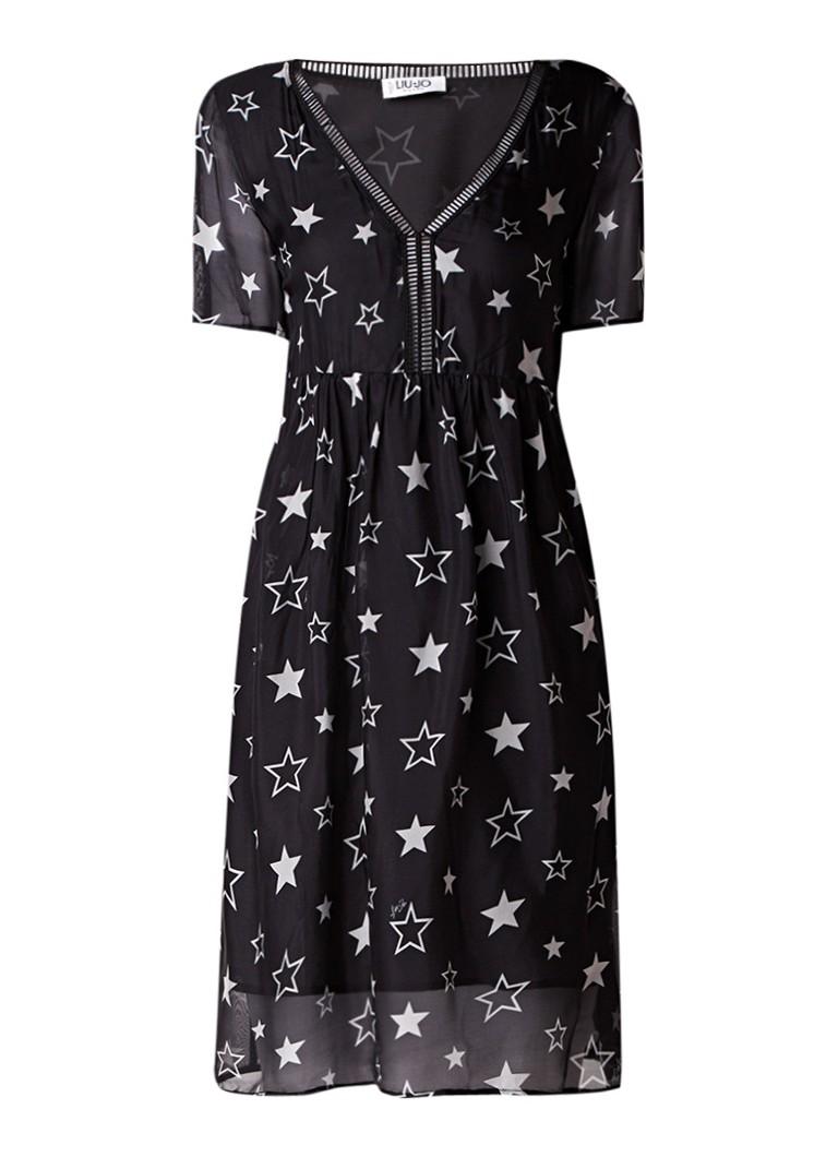 Liu Jo Tuniekjurk in zijdeblend met sterrenprint zwart