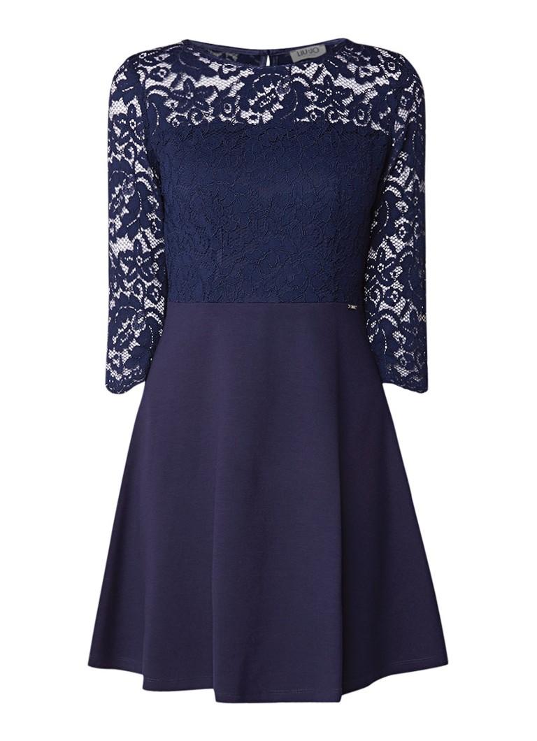 Liu Jo Mini A-lijn jurk van kant middenblauw