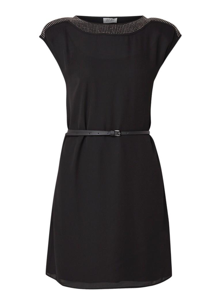 Liu Jo Loose fit midi-jurk met ceintuur en strass zwart