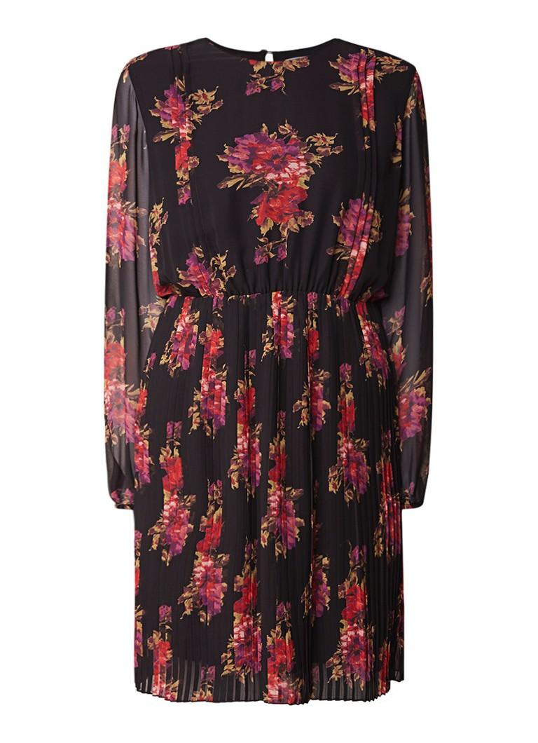 Liu Jo Geplisseerde midi-jurk met bloemendessin zwart