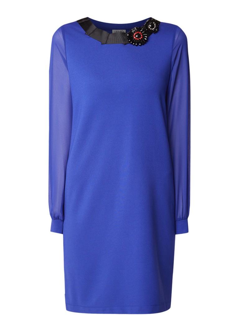 Liu Jo Midi-jurk van jersey met semi-transparante mouw royalblauw