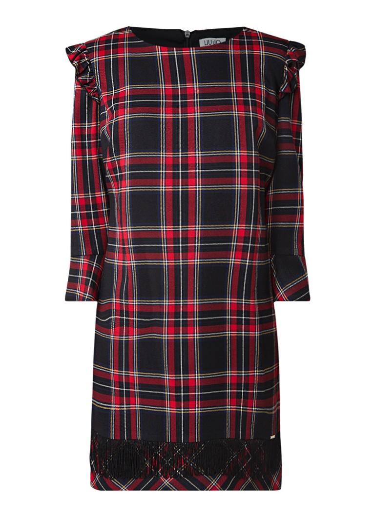 Liu Jo Tartan mini-jurk met ruitdessin en ruches donkerrood