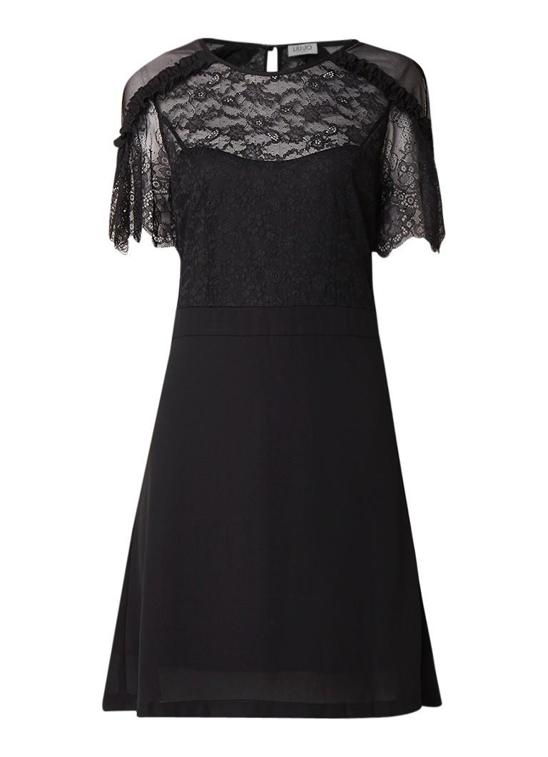 Liu Jo Mini-jurk met inzet van kant zwart