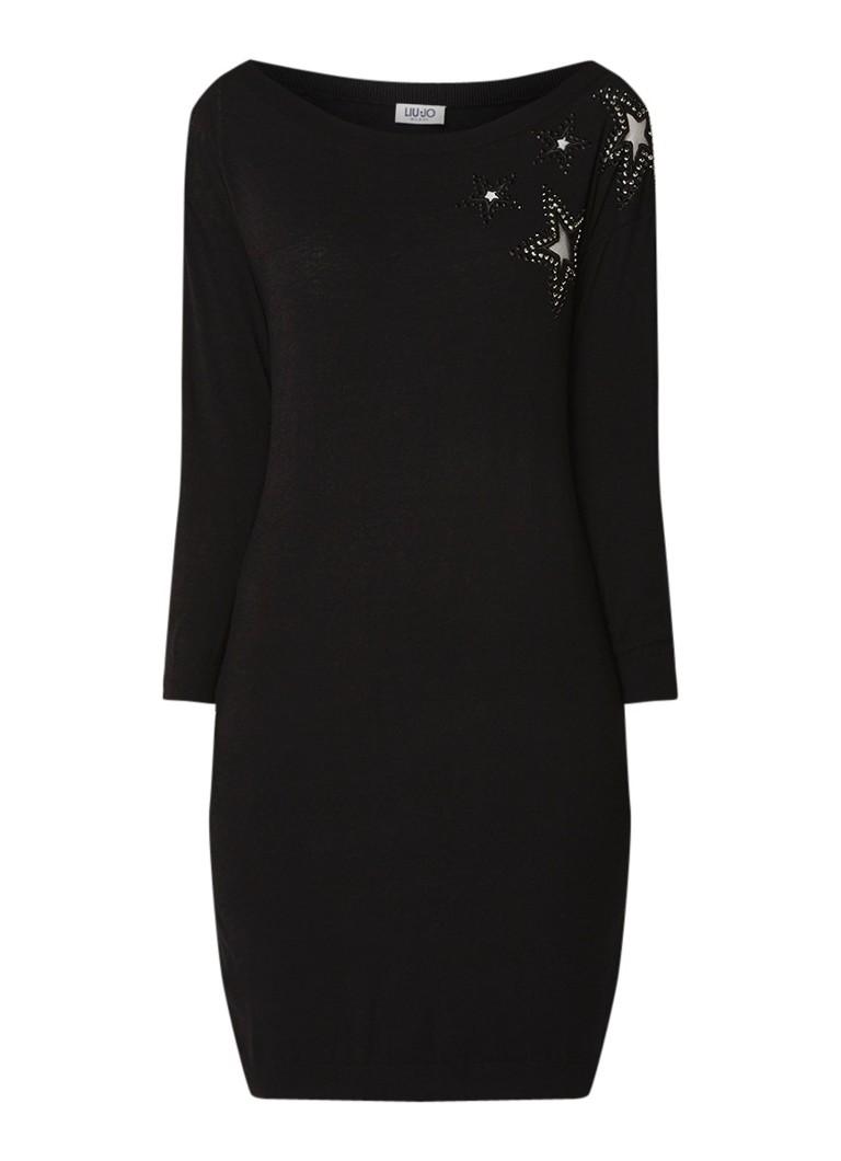 Liu Jo Fijngebreide mini-jurk met sterren en strass zwart