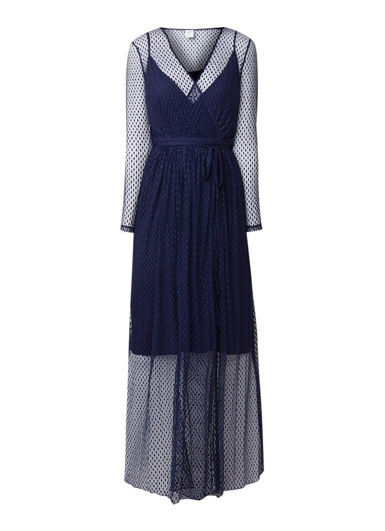 Baum und Pferdgarten Anneline semi transparante maxi-jurk van kant donkerblauw