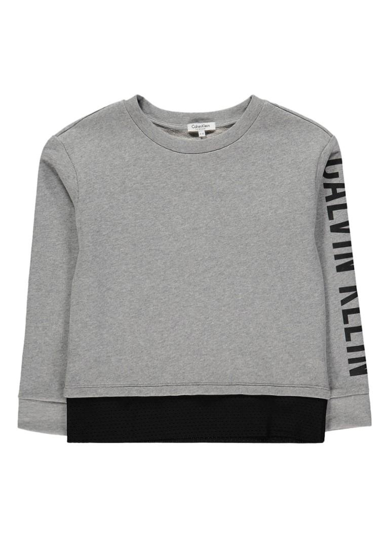 Calvin Klein Sweater met logo opdruk en mesh detail