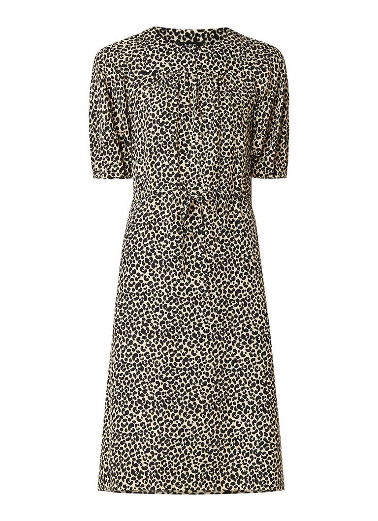 A.P.C. Ondine midi-jurk met luipaarddessin en trekkoord