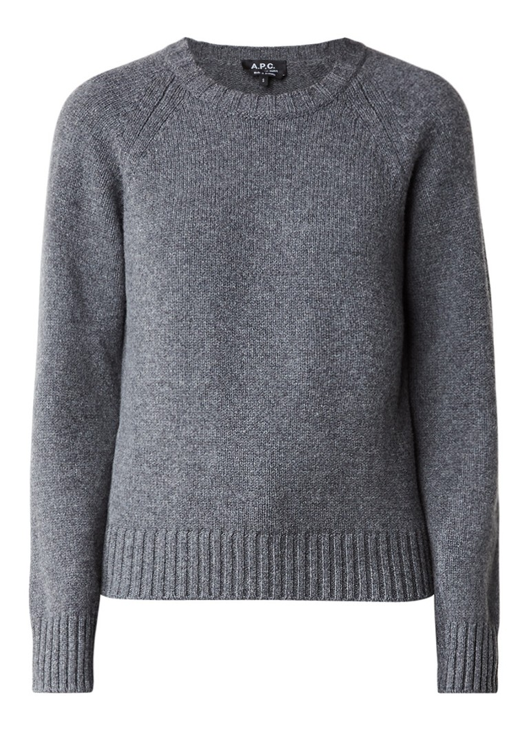 A P C  Pullover van wol met ribgebreide boorden
