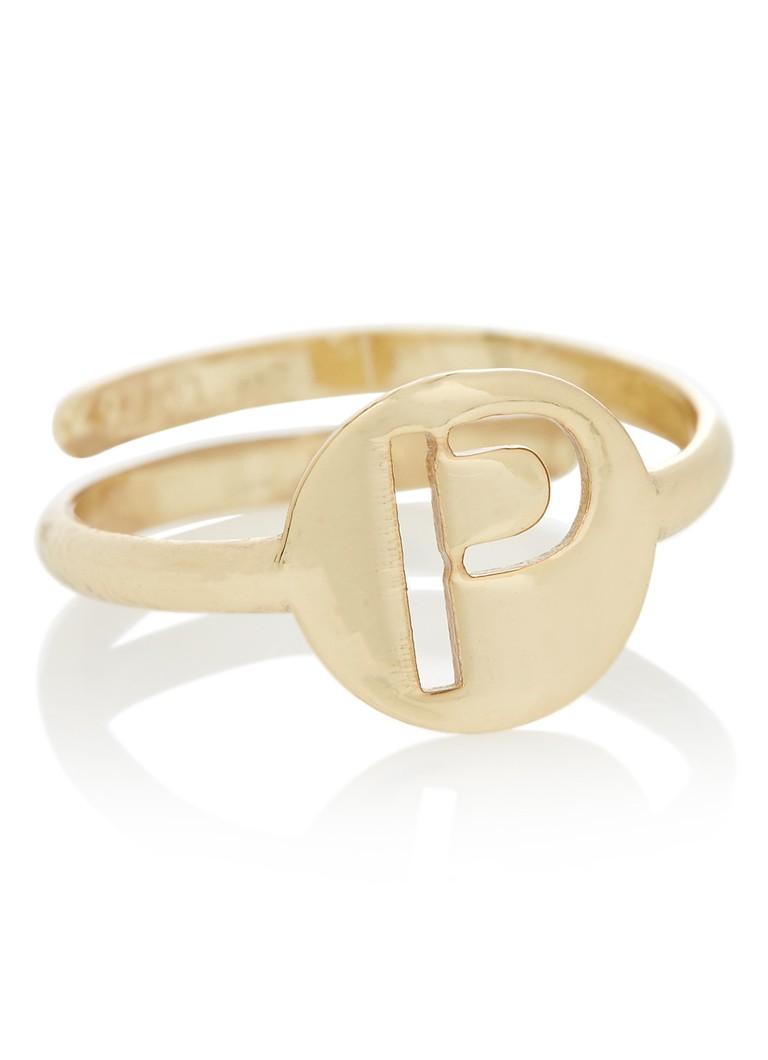 Sieraden LOTT  gioielli Verstelbare ring Initial P van zilver met goudkleurige plating Goud