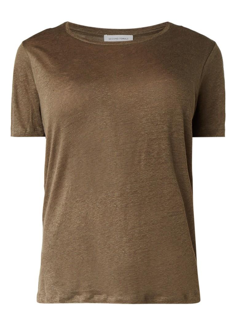 Second Female Peony T-shirt van linnen met ronde hals