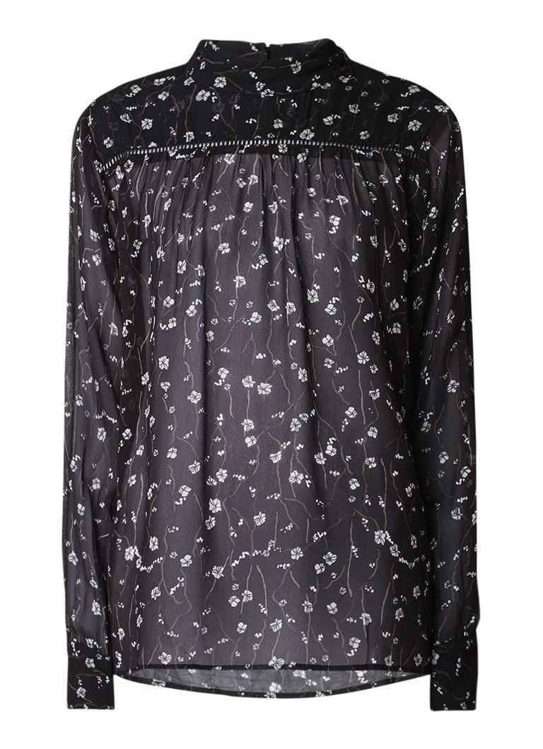 Tops Second Female Callino semi transparant tuniek met bloemendessin Zwart