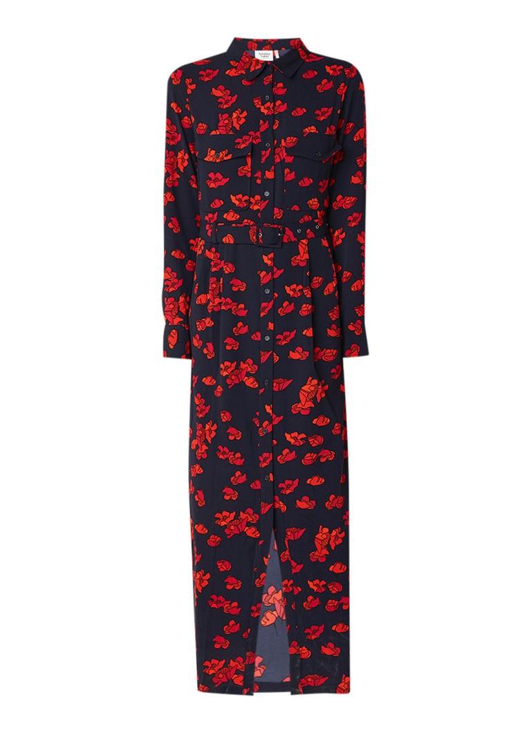 Another-Label Regent maxi-jurk met bloemendessin en ceintuur zwart