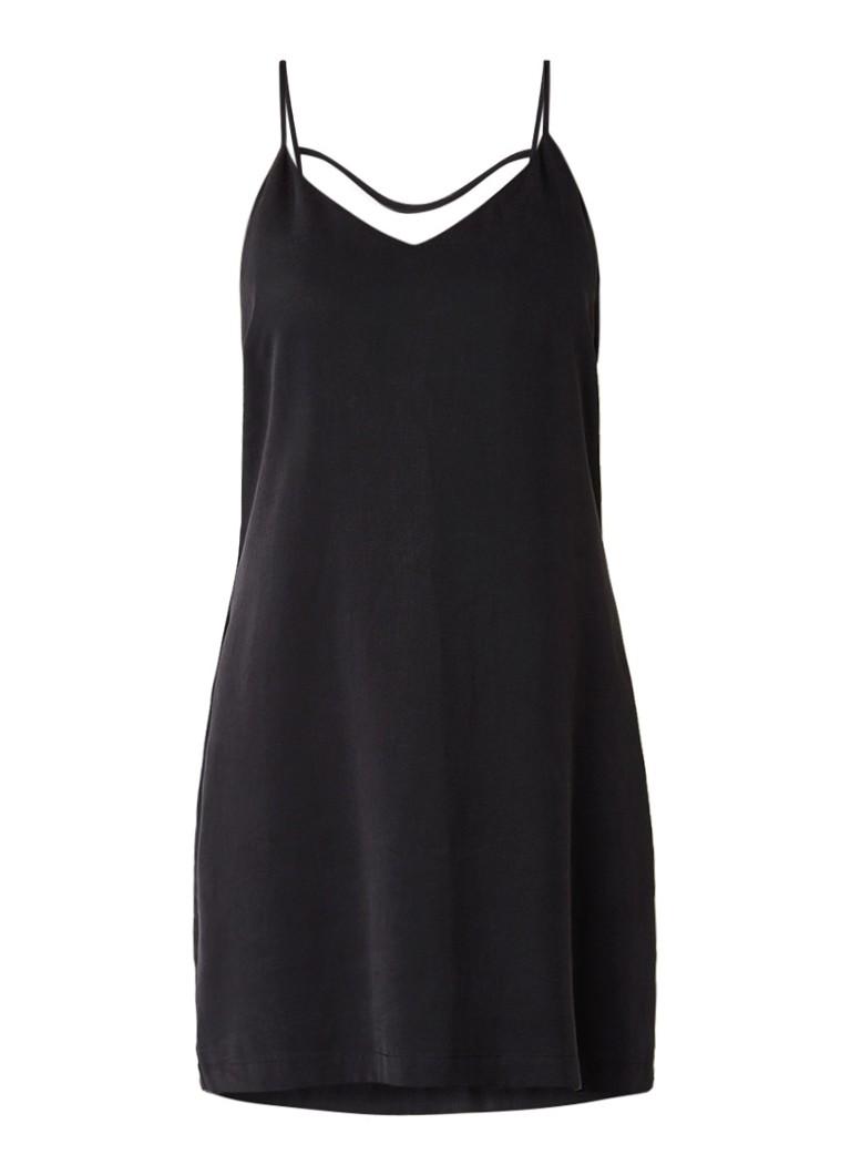 Another-Label Bergen jurk met smalle bandjes en rugdecolleté zwart