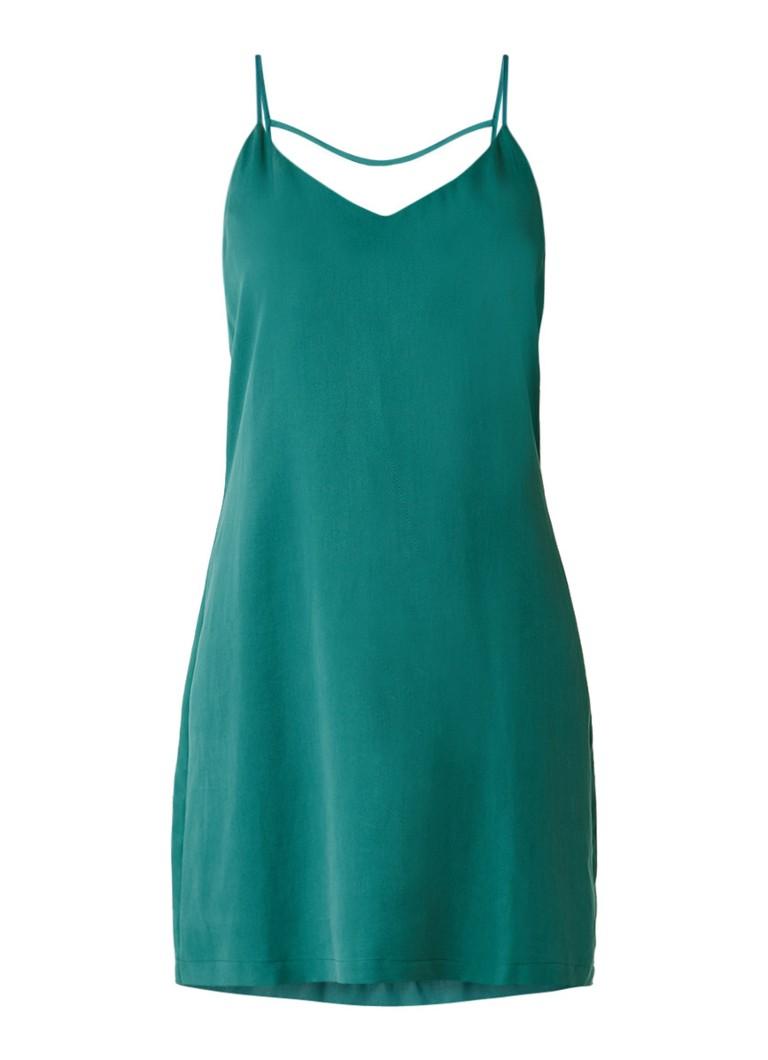 Another-Label Bergen jurk met smalle bandjes en rugdecolleté zeegroen