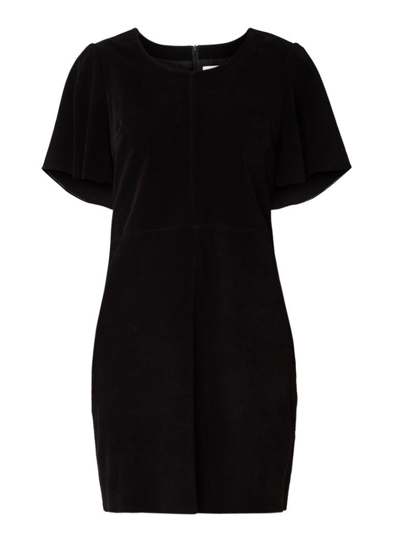 Another-Label Bankers jurk van nubuck met klokkende mouwen zwart