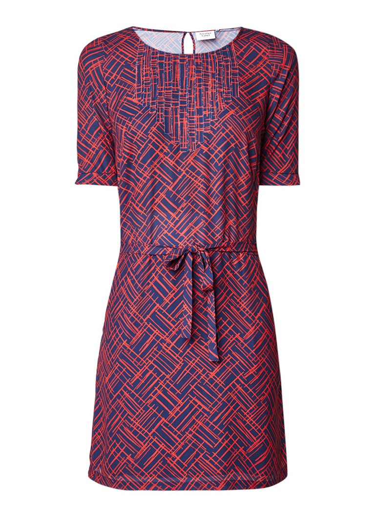 Another-Label Ger A-lijn jurk met strikceintuur en grafisch dessin rood