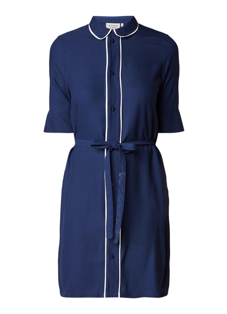 Another-Label Henry blousejurk met strikceintuur en getipte boorden donkerblauw