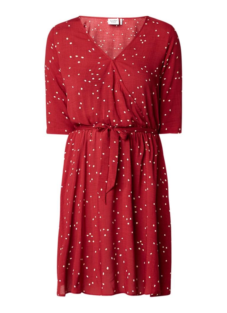Another-Label Gold A-lijn jurk met overslag en strikceintuur rood
