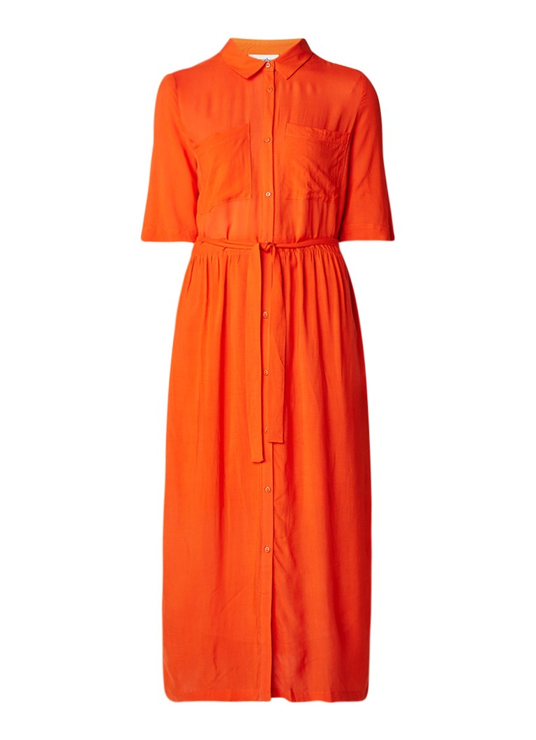Another-Label Kemps maxi blousejurk met strikceintuur oranjerood
